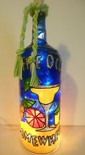 5 o'clock somewhere Bottle Lamp Stained Glass Look Handpainted Lighted
