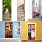 Door Wall Fridge Sticker Wrap Mural Scene Forest Bridge Self Adhesive 3D
