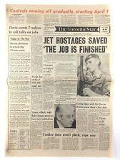 Vintage October 18 1977 Toronto Star Front Page Newspaper Hostages Saved K763