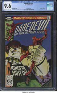 Daredevil #170 1981 CGC 9.6 - Frank Miller story/art - Bullseye, Kingpin apps