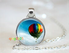 Tibet silver Chain Pendant Necklace wholesale Up hot air balloon glass dome