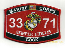 MOS 3371 COOK  Food Service Specialist HAT PATCH US MARINES PIN UP VETERAN WOW