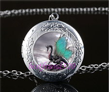Dragon Art Photo Cabochon Glass Tibet Silver Locket Pendant Necklace