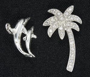 """PAIR of TROPICAL THEME PALM TREE & DOLPHIN STERLING CHARM / PENDANT ~1.25"""" &5/8"""""""