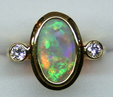Ladies 18K Yellow Gold Lightning Ridge 3.91 Carat Opal Ring with Diamond Accents