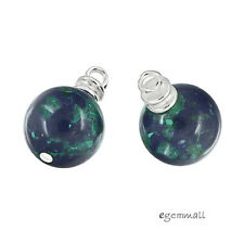 2 Sterling Silver Azurite Malachite Dangle Charm Earring Pendant Beads #98084