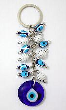Lucky Evil Eye Blue Glass 3x12cm Amulet Charm Kabbalah Good Luck Key Ring Chain