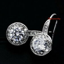 18k White Gold Filled Round Drop Dangle Earring Made With Swarovski Crystal IE81