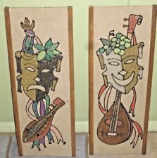MID CENTURY MODERN RETRO PAIR GRAVEL PEBBLE WALL ART COMEDY TRAGEDY MUSICIANS