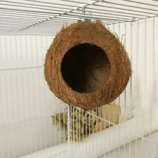 Bird's Coconut Shell Breeding Nest Parrot Hamster Hanging Toy Hut Cage House Us