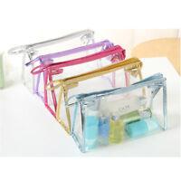 Clear Transparent Plastic PVC Travel Makeup Cosmetic Toiletry Zip Bag Pouch Fad
