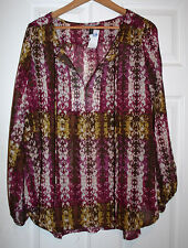 Allison Brittney Plus 1X Burgundy Long Sleeve Print Chiffon BOHO Tunic Top NWT