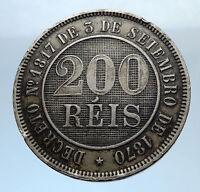 1886 BRAZIL Antique Brazilian Coin Coat-Of-Arms Genuine 200 Reis  Coin i71803