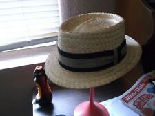 VINTAGE CHAMP STRAW SUMMER HAT 7 1/8 VERY SHARP SORT OF BARBER SHOP QUARTET LOOK