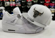 Matching New Era Silver Chicago Bulls snapback Hat Jordan 4 Retro Pure Money