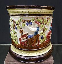 Antique German Majolica Tobacco Jar Pictorial Austrian Village Life No Lid
