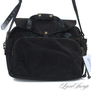 #1 MENSWEAR Filson Made in USA HEAVYWEIGHT Black Leather Trim Messenger Bag NR
