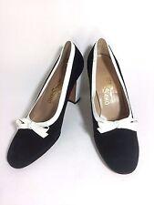 SALVATORE FERRAGAMO Black & White Leather Classic Pumps High Block Heel Shoes 9