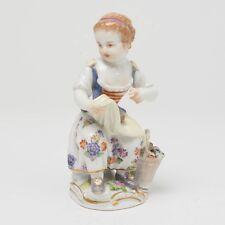 """Antique Meissen Porcelain Figurine Country Girl Flower Basket 4.5"""" Signed German"""