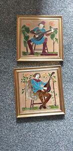 Pair of Minstrel Tiles - Decorative Ceramic Wall Tile Art