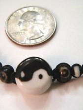 1 YING YANG Bracelet Ceramic Beads Braided Waxed Twine Yin Yang Adjustable NEW!