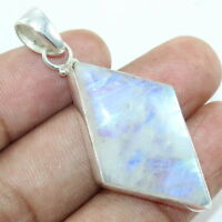 Solid 925 Sterling Silver Rainbow Moonstone Gemstone Pendant Handmade Jewelry