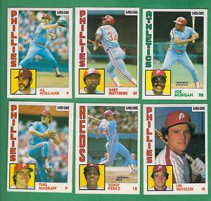( 6 ) 1984 O-PEE-CHEE #70, 161, 206, 210, 275, 385 - Philadelphia Phillies