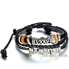 Rivet Spike Women Men Surfer Tribal Wrap Multilayer Leather Adjustable Bracelet