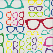 Funky Geeky Glasses on White Geekery Quilting Fabric  FQ or Metre *New*