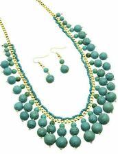 Gold Turquoise Beaded Southwestern Western Cowgirl Rockabilly Necklace Earrings