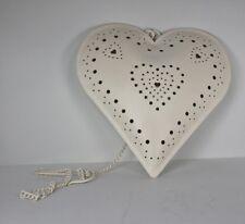 Sass & Belle Heart Tea Light Candle Holder Cream White Metal Tealight Chain