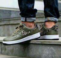 SZ 10 MEN'S Nike Air Force 1 AOP Premium Olive Khaki Basketball Shoes AQ4131-200