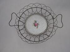 Antique Victorian Wire Framed Floral Porcelain Plate Primitive