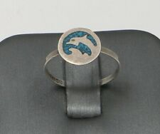 Vintage Sterling Silver Turquoise Dolphin inlay ring 1.1 Grams Size 7.5 Grams