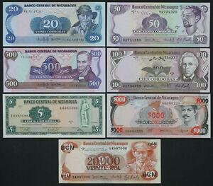 NICARAGUA - Set of 7 Banknotes Notes - 5-20.000 Cordobas 1972-1987 (UNC)