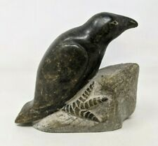 VTG Canadian Eskimo Art Carved Stone Bird Raven Crow Figurine Sculpture TT20
