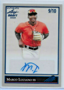 2020 LEAF ULTIMATE DRAFT MARCO LUCIANO CLEAR BLUE SSP PARALLEL ROOKIE AUTO 9/10