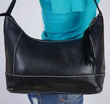 THE SAK Medium Black  Leather Shoulder Hobo Tote Satchel Purse Bag