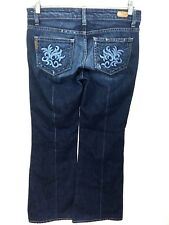 Paige Jeans Robertson Embroidered Pockets Dark Wide Leg Womens 27 Actual 30 x 33