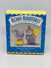 Happy Birthday Clowns`1996`Merry Miniatures-2 Piece Hallmark Figurine Set New