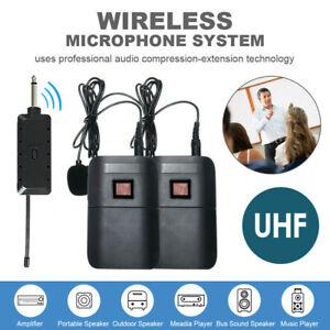 UHF Wireless Microphone Lavalier Lapel Mic Receiver Transmitter Dual Headset Set