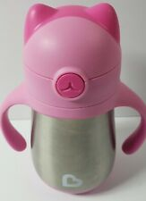 Munchkin Cool Cat Stainless Steel Straw Cup Pink 240ml New without Package