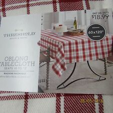 New! Threshold Red Woven Plaid Oblong Tablecloth 60 X 120 Cotton