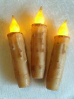"3 CREAM 4"" Grungy LED TIMER Primitive Battery Taper Candles Rustic Country"