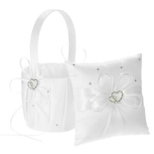 Cute Basket Pillow Set Heart Beads Rhinestones Ivory Satin Wedding Decoration