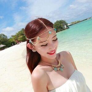 Boho Gold Draping Chain 5 Turquoise Crown Hair Cuff Arabian Head Piece Jewellery