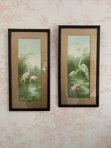 1900 E Vouga Framed Prints Pictures Flamingos Cranes in Swamp Edwardian Tropical