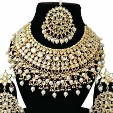 Indian Bollywood Jewelry Wedding Bridal Kundan Jodha Akbar Necklace Set White 4P