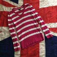 WOMENS TOMMY HILFIGER V NECK JUMPER PINK MEDIUM