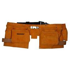 Doble Bolsa De Herramientas De Cuero 11 Pocket Cinturón de gamuza cuero Handyman Split